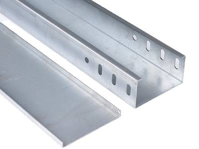 A aluminum cable tray and a cover on the gray background.