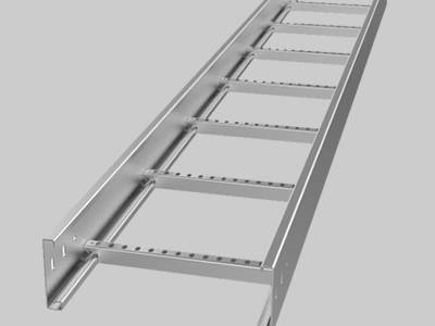A stainless steel cable ladder on the gray background.