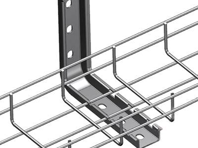A wire mesh cable tray are fastened to the wall by the L wall bracket.
