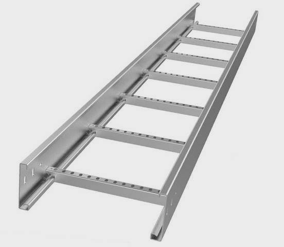 A stainless steel cable ladder on the white background.