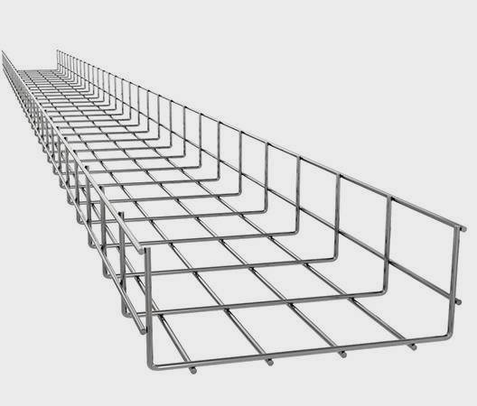 A wire mesh cable ladder on the white background.