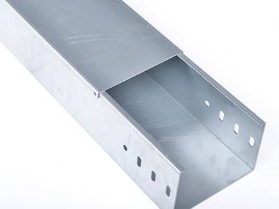 An aluminum cable tray with cover on the white background.