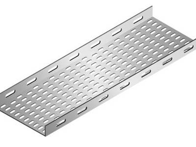 An aluminum perforated cable tray on the white background.