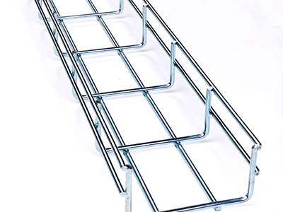 An aluminum wire mesh cable tray on the white background.