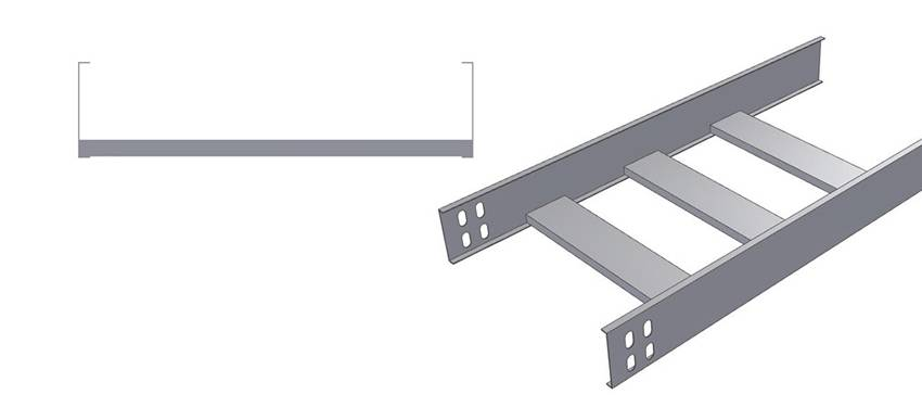 A sectional view and a lateral view picture of CSI type cable ladder.