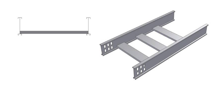 A sectional view and a lateral view picture of I beam cable ladder.