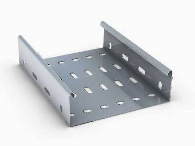 A hot-dipped perforated cable tray on the white background.