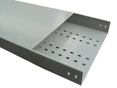 A galvanized perforated tray type cable tray on the white background.