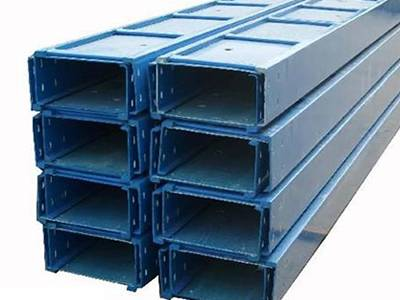 Several blue color FRP cable tray on the ground.