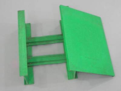 A green color cable ladder on the gray background.