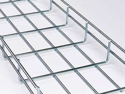A stainless steel wire mesh cable tray on the gray background.