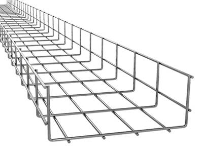 A galvanized wire mesh type cable tray on the white background.
